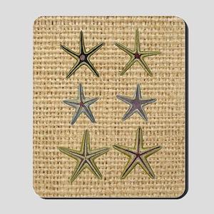 starfish  seashell burlap beach art Mousepad
