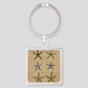 starfish  seashell burlap beach ar Square Keychain