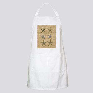 starfish  seashell burlap beach art Apron