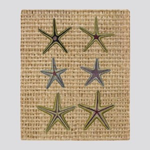 starfish  seashell burlap beach art Throw Blanket