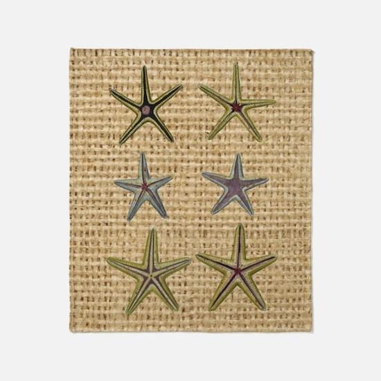 starfish  seashell burlap beach art Throw Blanket