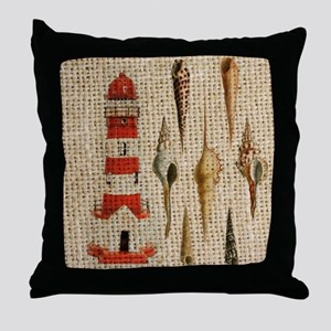 lighthouse vintage seashells beach de Throw Pillow