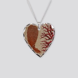 red coral burlap beach decor Necklace Heart Charm