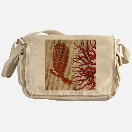 red coral burlap beach decor Messenger Bag
