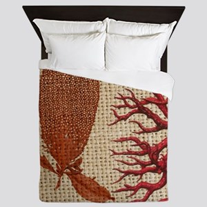 red coral burlap beach decor Queen Duvet