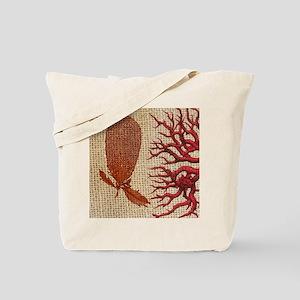 red coral burlap beach decor Tote Bag