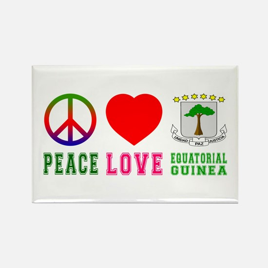 Peace Love Equatorial Guinea Rectangle Magnet