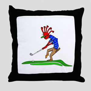 Kokopelli Golfer Throw Pillow