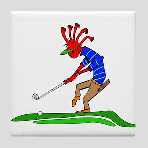 Kokopelli Golfer Tile Coaster