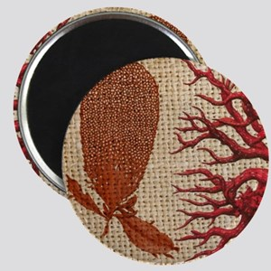 red coral burlap beach decor Magnet