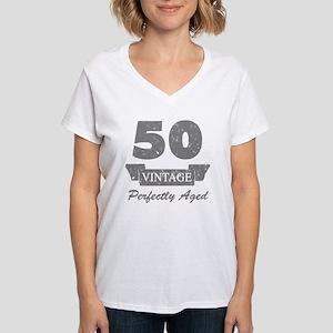 50th Birthday Vintage Women's V-Neck T-Shirt