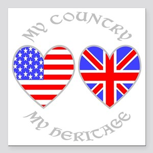 "UK USA Country Heritage Square Car Magnet 3"" x 3"""