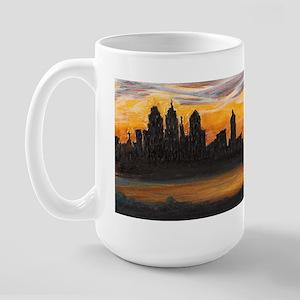 Philadelphia sunset pastel sketch Large Mug