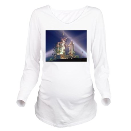 Space Shuttle Launch Long Sleeve Maternity T-Shirt