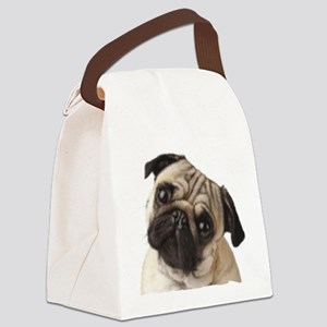 Pug Oil Painting Face Canvas Lunch Bag
