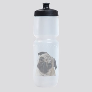 Pug Oil Painting Face Sports Bottle