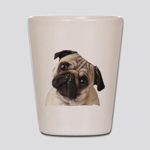 Pug Oil Painting Face Shot Glass