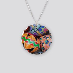 Goose Egg Pysanky Necklace Circle Charm