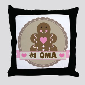 Number One Oma Gingerbread Throw Pillow