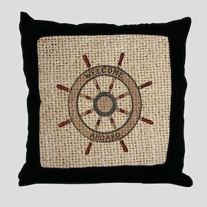 nautical  ship wheel voyage burlap Throw Pillow