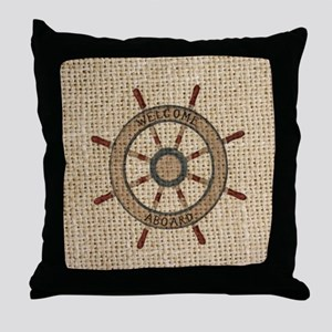 nautical  ship wheel burlap beach Throw Pillow
