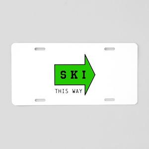SKI THIS WAY Aluminum License Plate