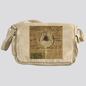 french botanical artichoke scripts v Messenger Bag