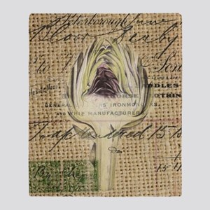 french botanical artichoke scripts v Throw Blanket