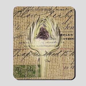 french botanical artichoke scripts vinta Mousepad