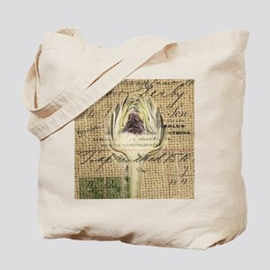 french botanical artichoke scripts vintag Tote Bag