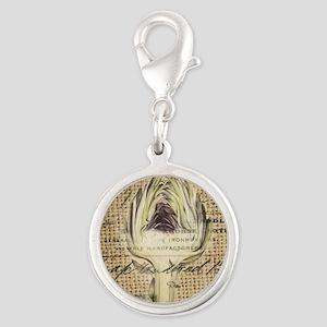 french botanical artichoke scr Silver Round Charm