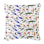 Tackle Box Pattern 1 Woven Throw Pillow