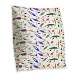 Tackle Box Pattern 1 Burlap Throw Pillow