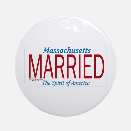 Massachusetts Marriage Equality Ornament (Round)