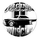 Black car Round Car Magnet