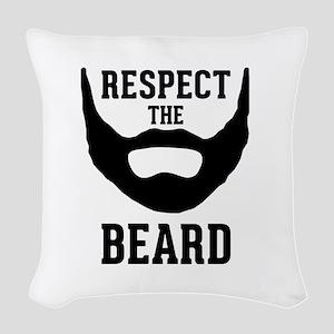 Respect The Beard Woven Throw Pillow