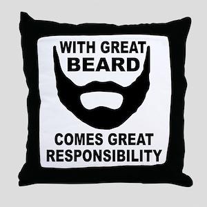 Beard Responsibility Throw Pillow