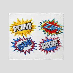 Comic Book Bursts Pow! 3D Throw Blanket
