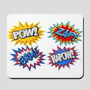 Comic Book Bursts Pow! 3D Mousepad