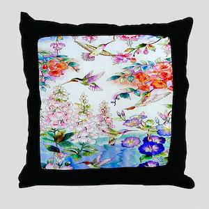 Hummingbirds Flowers Landscape Throw Pillow