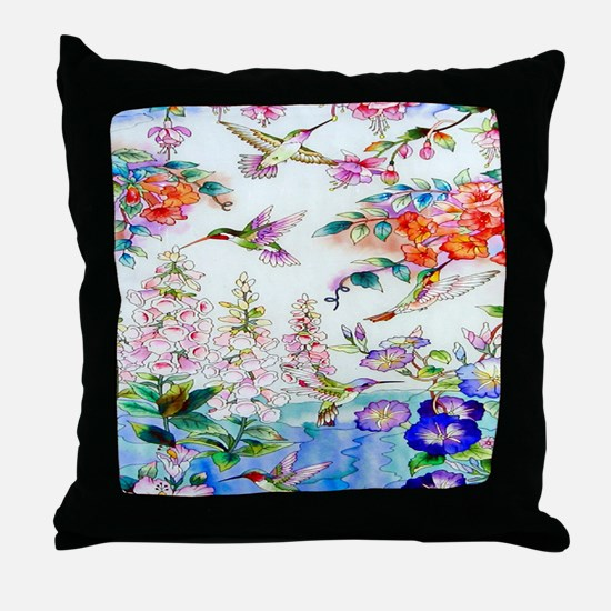 Hummingbirds Flowers Landscape Throw Pillow