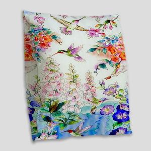 Hummingbirds Flowers Landscape Burlap Throw Pillow