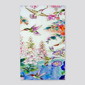 Hummingbirds Flowers Landscape 3'x5' Area Rug