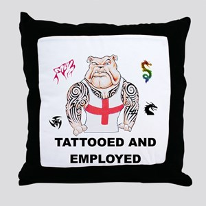 Tattooed and Employed English Bulldog Throw Pillow