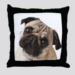 Pug Oil Painting Face Throw Pillow