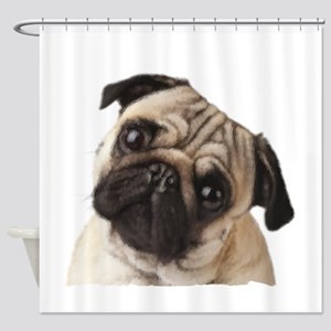 Pug Oil Painting Face Shower Curtain