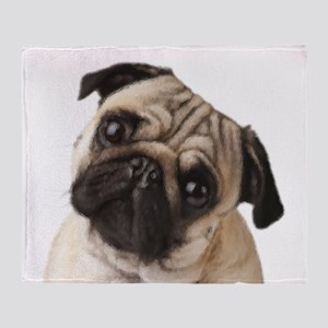 Pug Oil Painting Face Throw Blanket