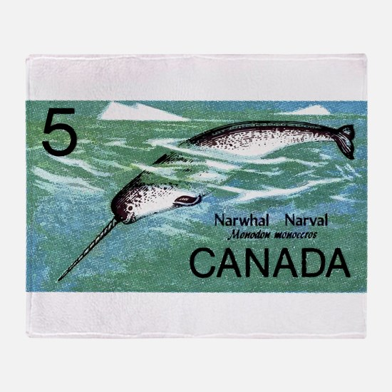 Vintage 1968 Canada Narwhal Postage Stamp Throw Bl