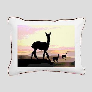 Sunset Hills Alpacas Rectangular Canvas Pillow