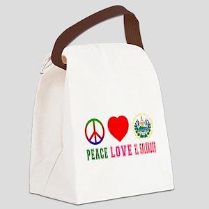 Peace Love El Salvador Canvas Lunch Bag